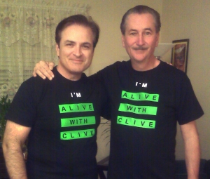 "Anton Evangelista and John Galasso in their ""I'm Alive with Clive"" T-shirts"
