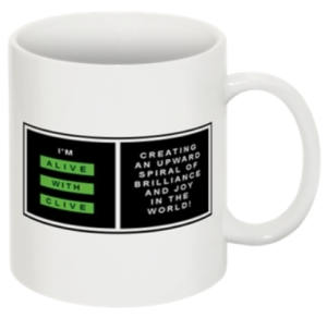 "The ""I'm Alive with Clive"" Mug -- Logo Horizontal with Border"