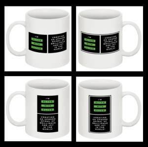 "Set of 4 ""I'm Alive with Clive"" Mugs"