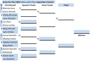 Draw for The FIRST Alive with Clive SuperStar Contest