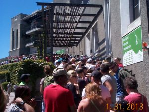 Throng of people waiting in line to ride the Cableway to the top of Table Mountain