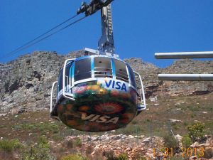 Cable Car in motion at the foot of Table Mountain