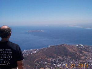 Robben Island and Cape Town Stadium in the distance