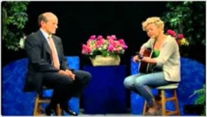 Clive Swersky with blossoming singer/songwriter, Cariad Harmon, during an interview on Alive with Clive