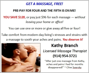 Get a Massage, Free! Pre-pay for four and the fifth is on Kathy Branch
